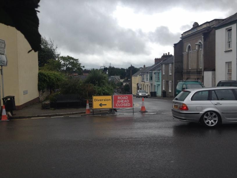 Road Closure Sign Top of New Road
